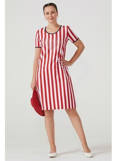 Sementa Kadın Sırtı Çapraz Rahat Kesim Çizgili Elbise - Kırmızı Kırmızı
